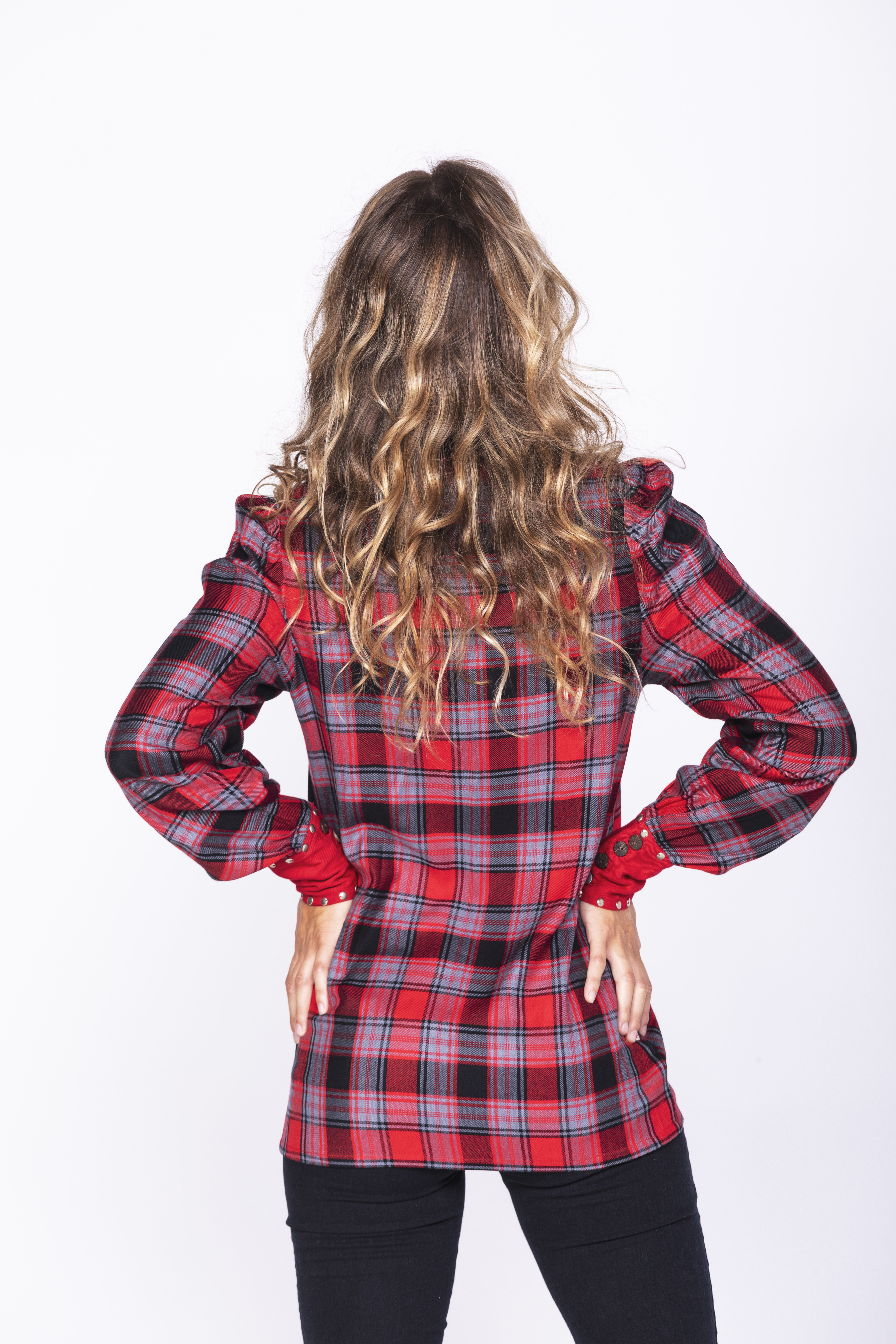 Savage Culture: Rose Red Plaid Criss Cross Tunic Kalingrado SOLD OUT
