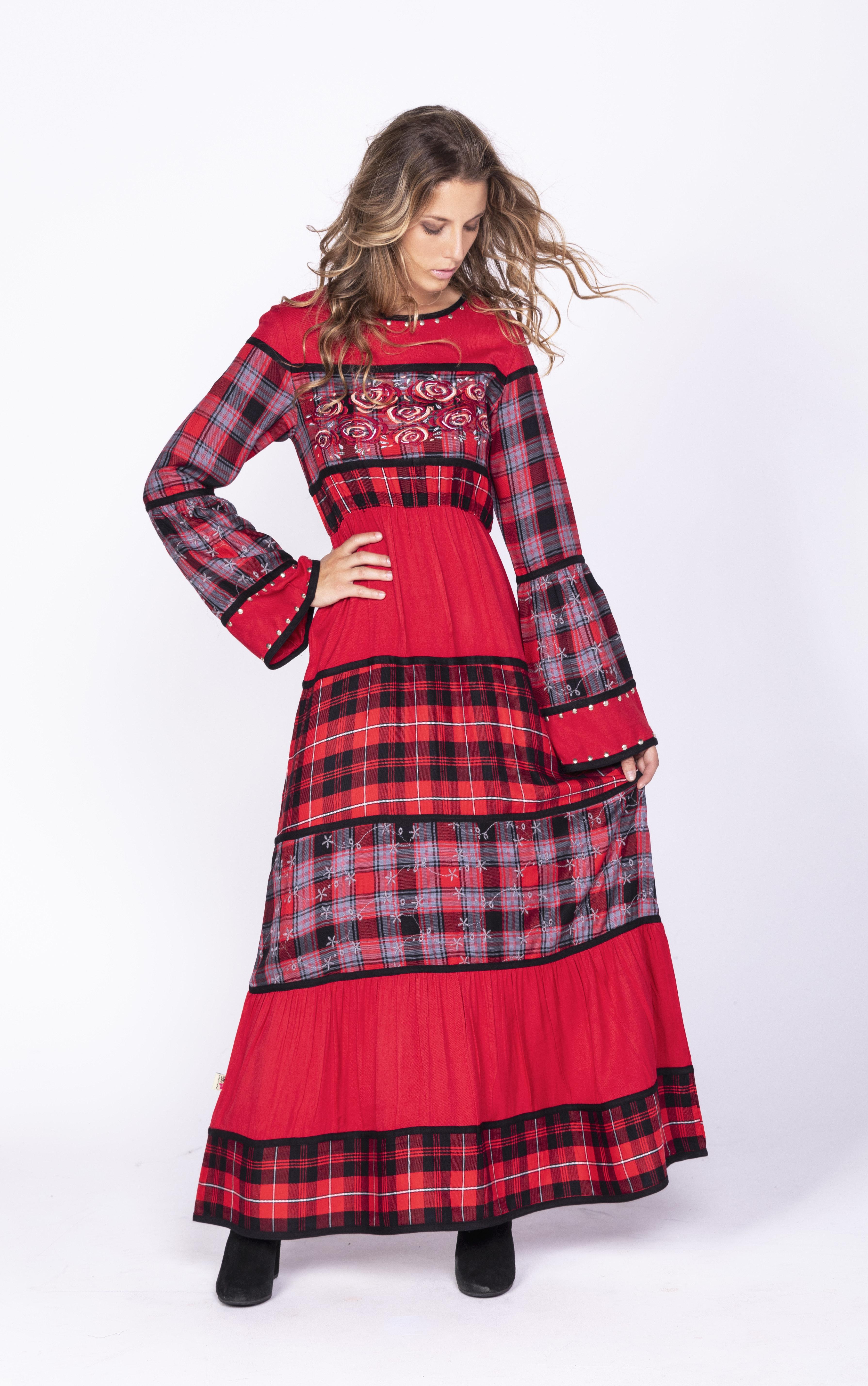 Savage Culture: Rose Red Plaid High Waist Dress SAVAGE_35060_N