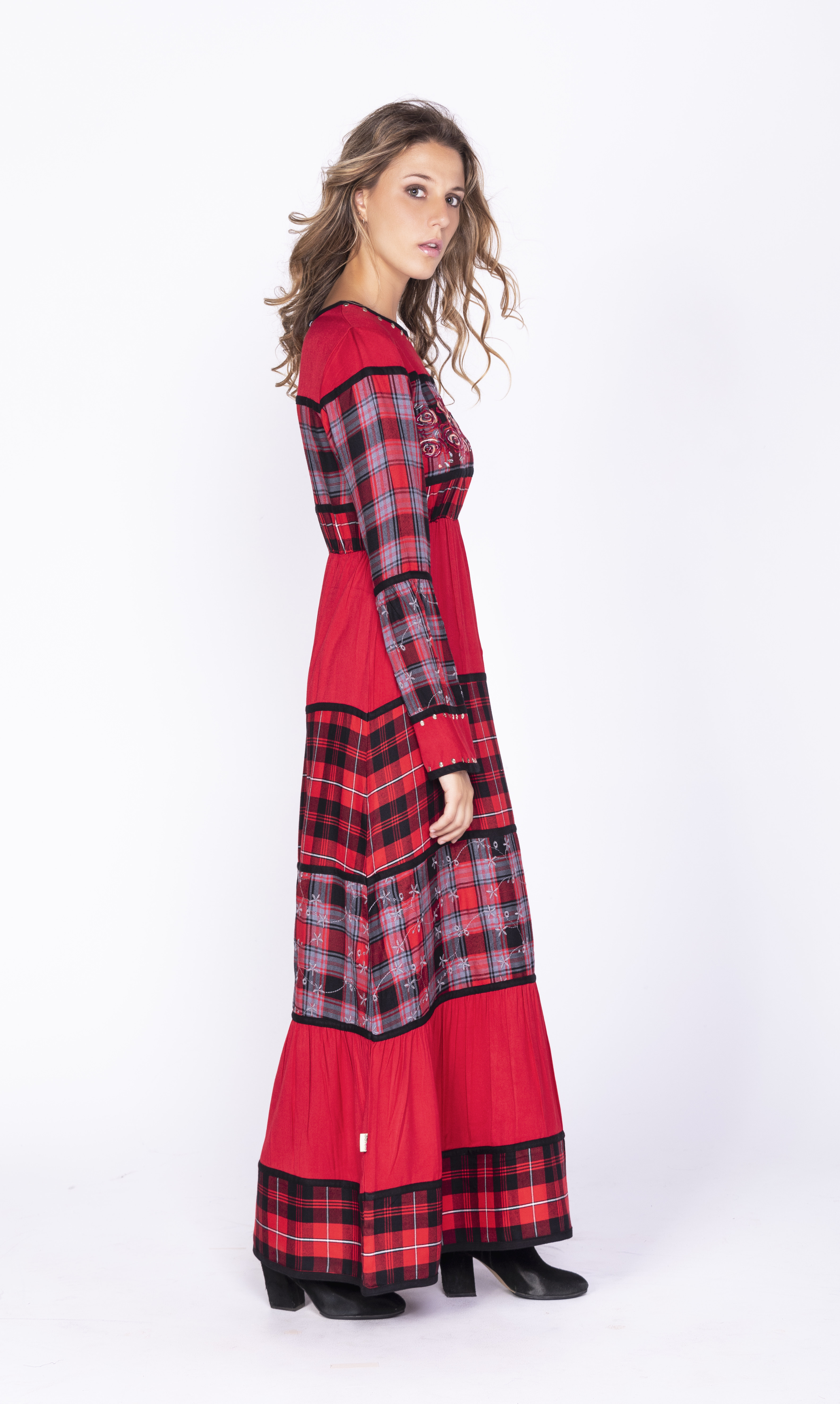 Savage Culture: Rose Red Plaid High Waist Dress