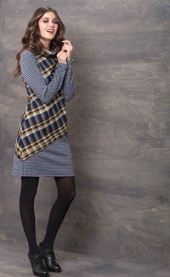 Maloka: Pretty In Asymmetrical Plaid With Jacquard Hem Dress (Almost Gone!) MK_PAULEN_N