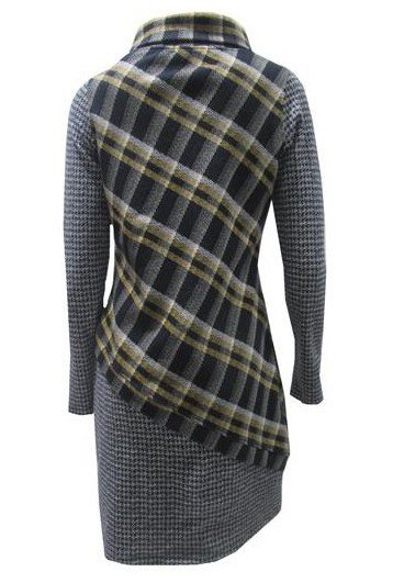 Maloka: Pretty In Asymmetrical Plaid With Jacquard Hem Dress (1 Left!)