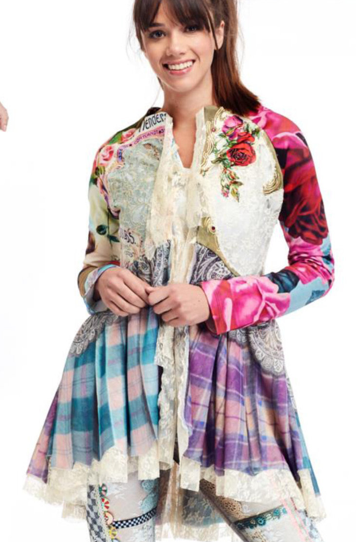 IPNG: Antique Jewels Pink Plaid Asymmetrical Flare Jacket