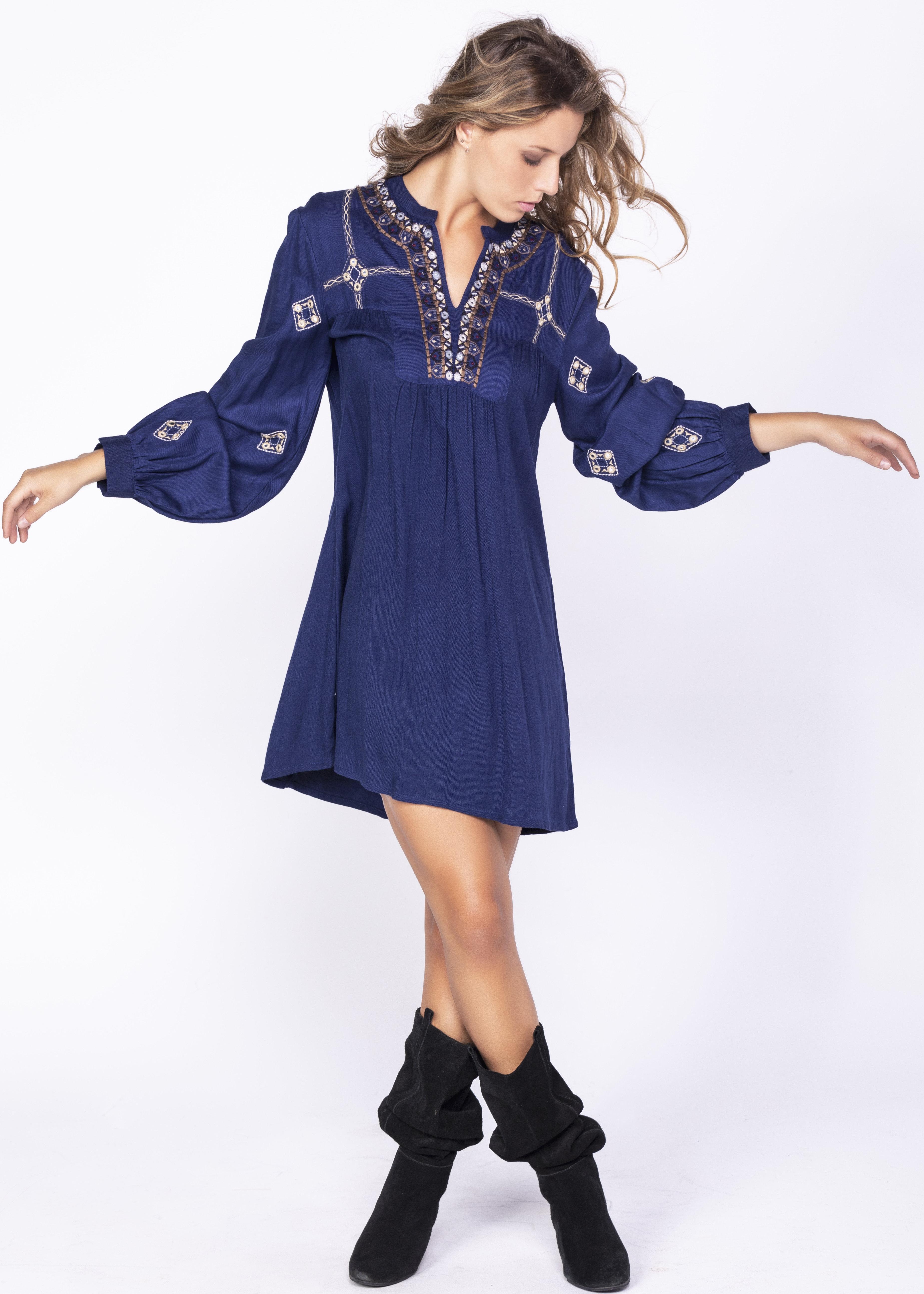 Savage Culture: Little Blue Empire Dress Gomti SAVAGE_35621