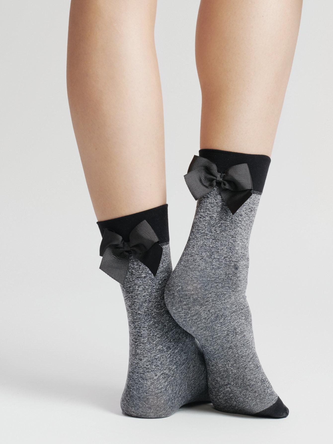 Fiore: Little Black Satin Bow 3D Melange Socks FIO_BAMBOLA