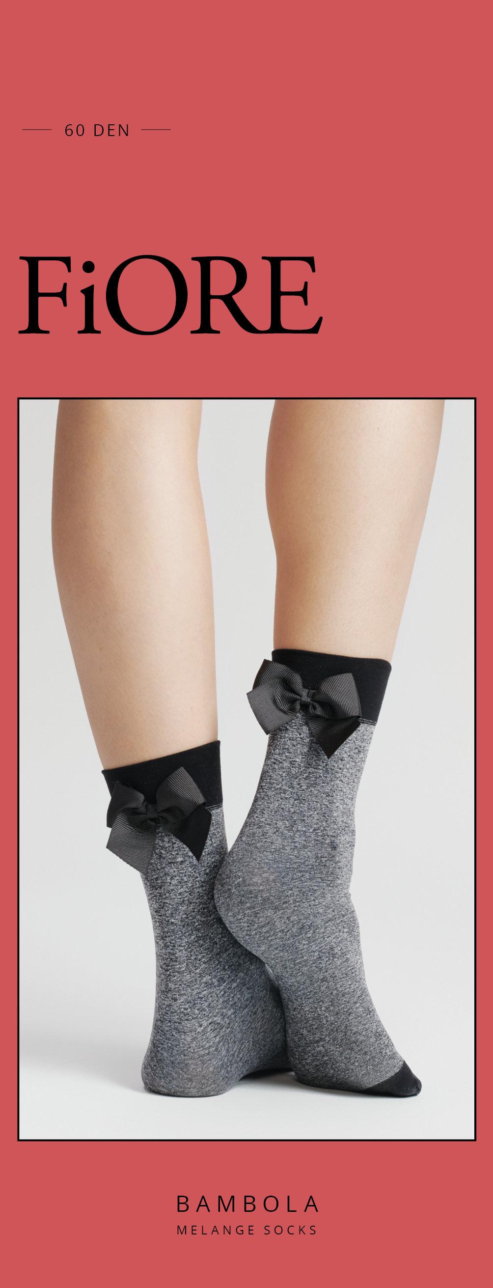 Fiore: Little Black Satin Bow 3D Melange Socks