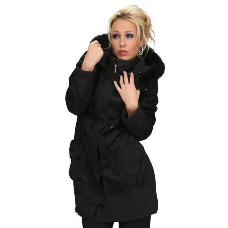S'Quise Paris: Black on Black Rose Embroidered Faux Fur hooded Wool Coat SQ_1592
