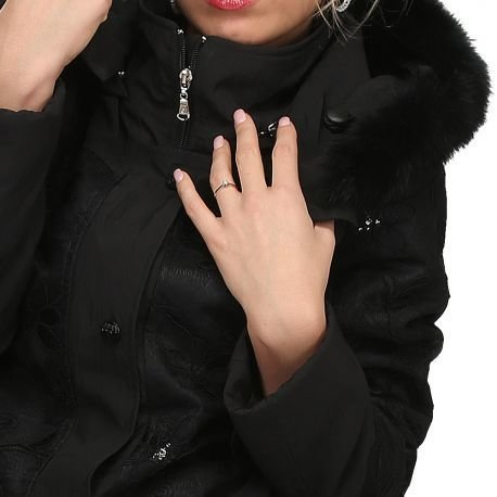 S'Quise Paris: Black on Black Rose Embroidered Faux Fur hooded Wool Coat