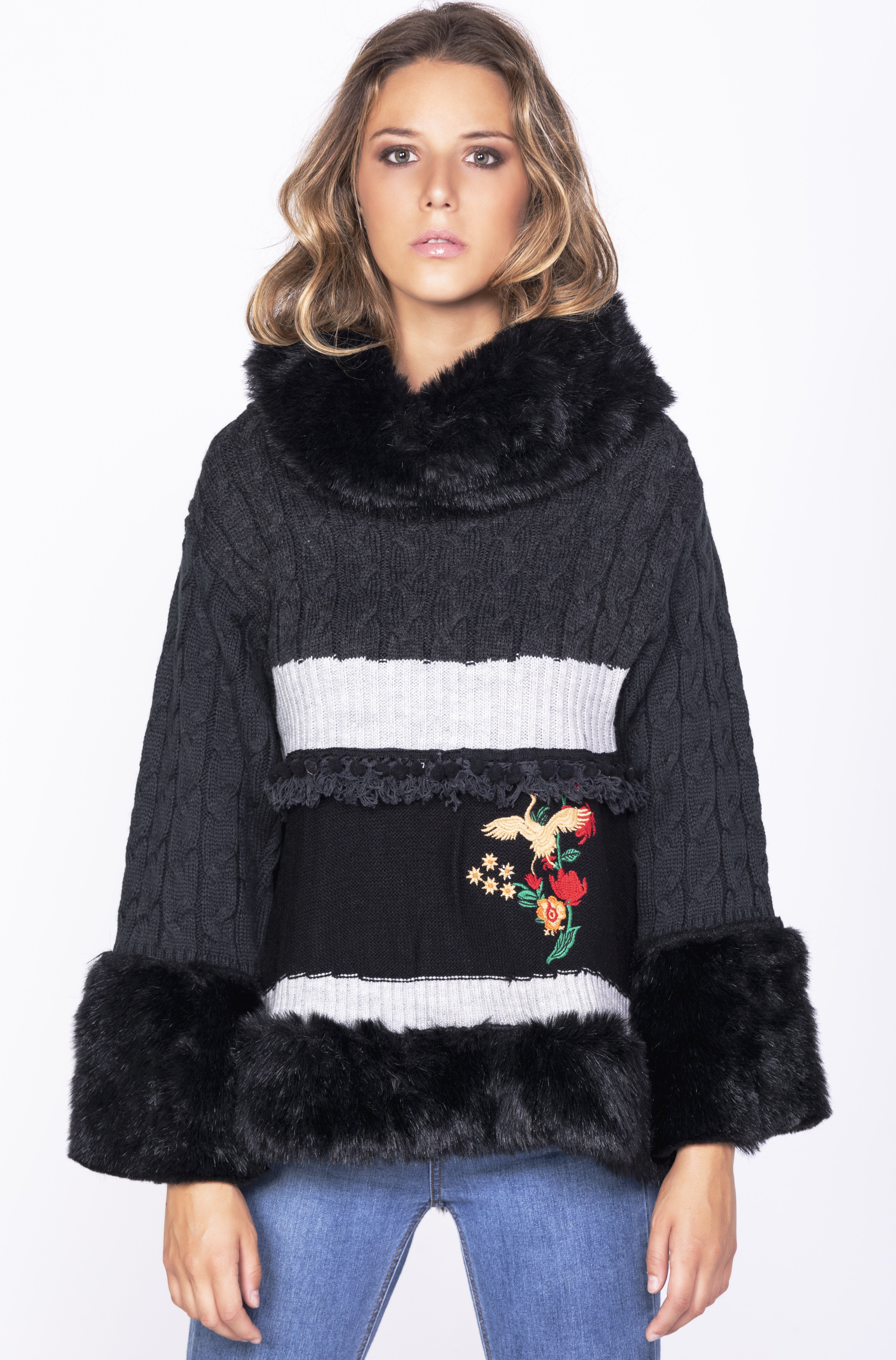 Savage Culture: Little Red Rose Embroidered Faux Fur Sweater Rostov SAVAGE_35050