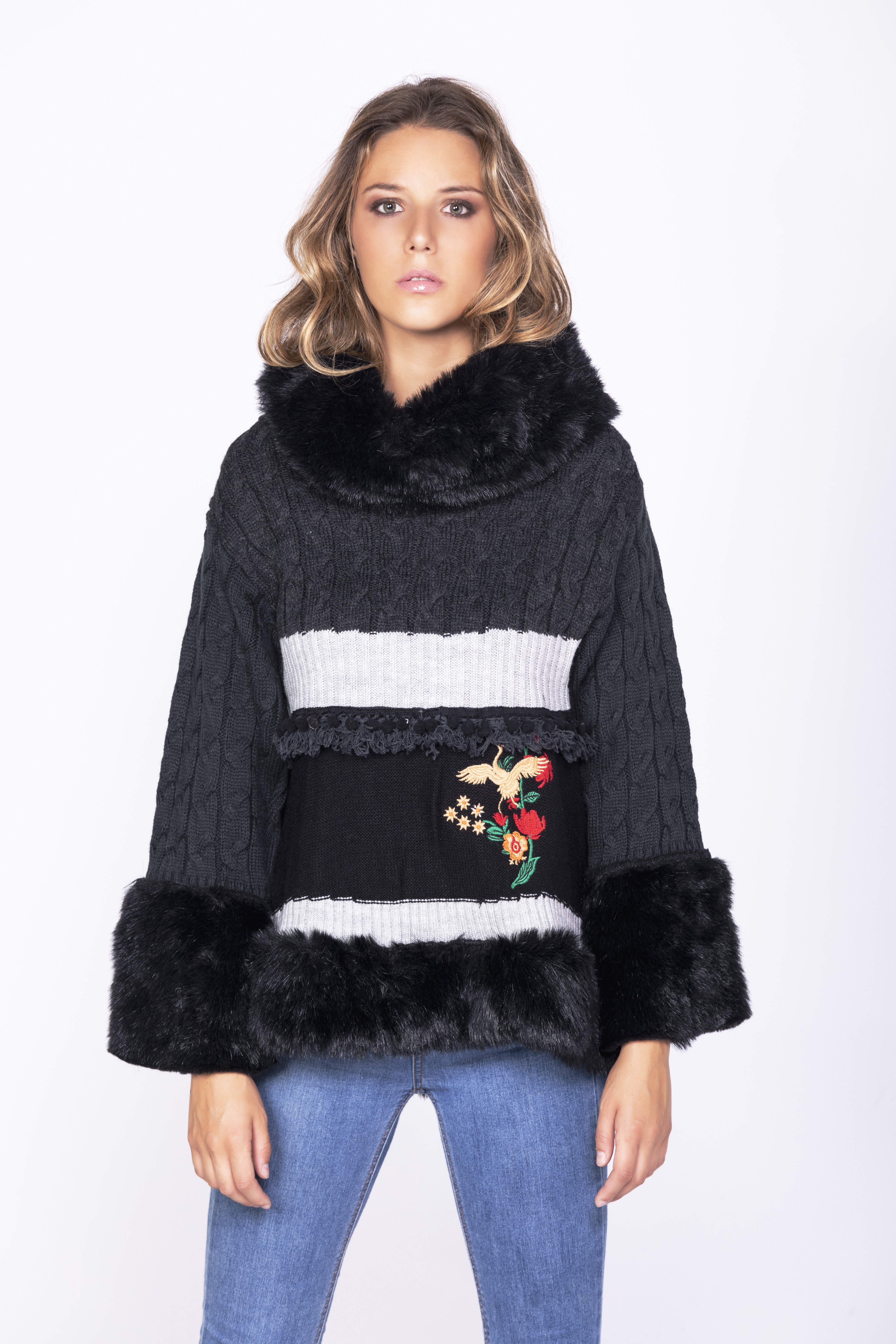 Savage Culture: Little Red Rose Embroidered Faux Fur Sweater Rostov