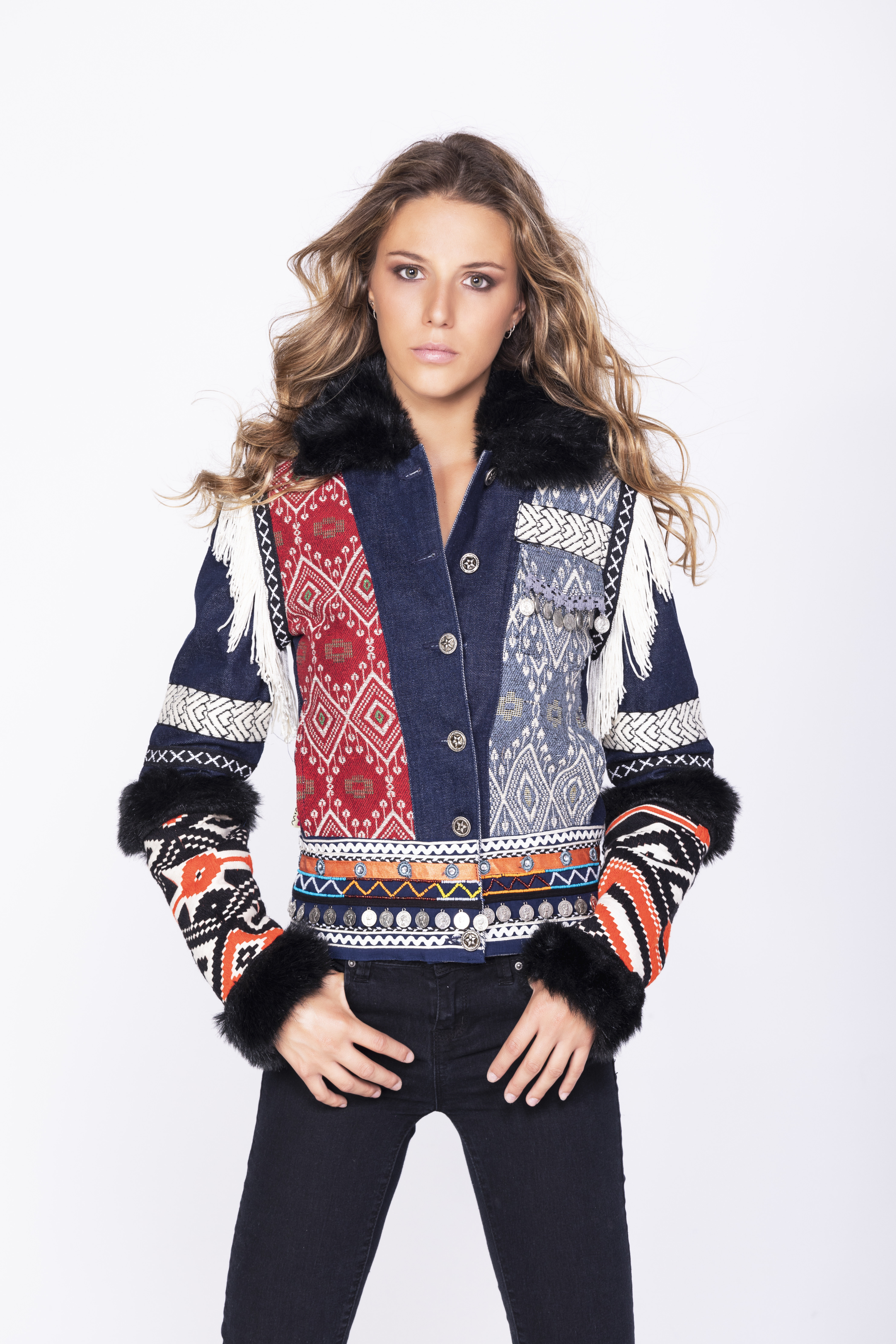 Savage Culture: Embroidered Faux Fur Denim Rhinestone Jacket Chenab SAVAGE_35590
