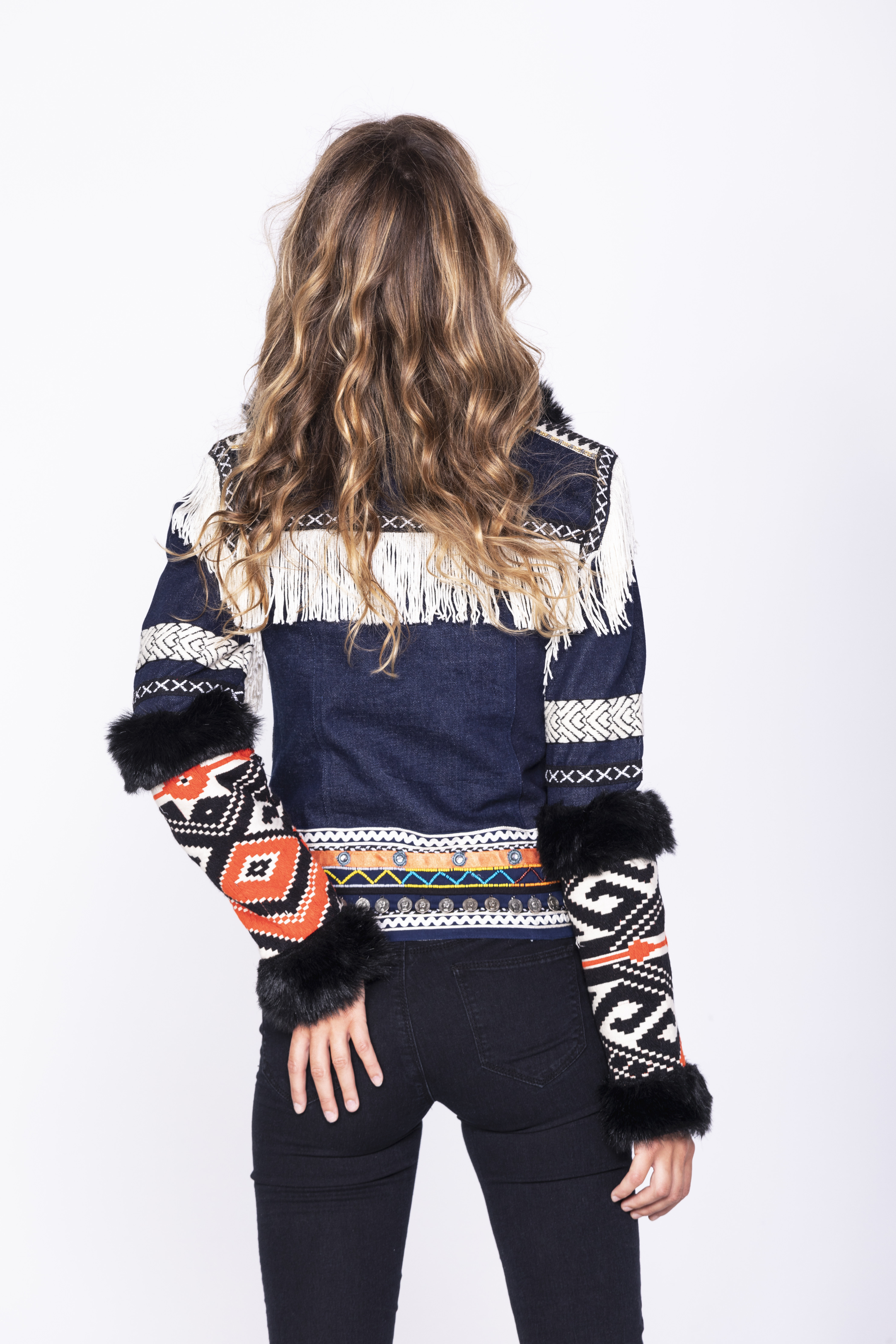 Savage Culture: Embroidered Faux Fur Denim Rhinestone Jacket Chenab