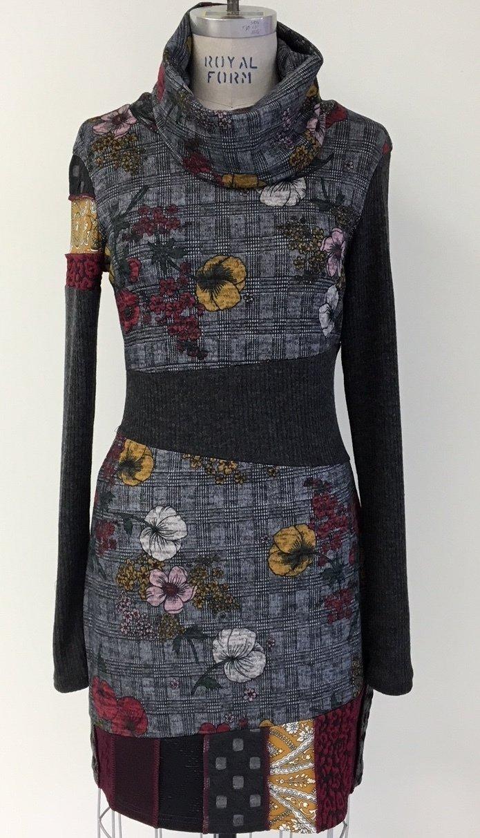 Myco Anna: Eco-Cotton Asymmetrical Patchwork Petunia Plaid Sweater Dress MA_VELASQUEZ_FLOWERS_N1