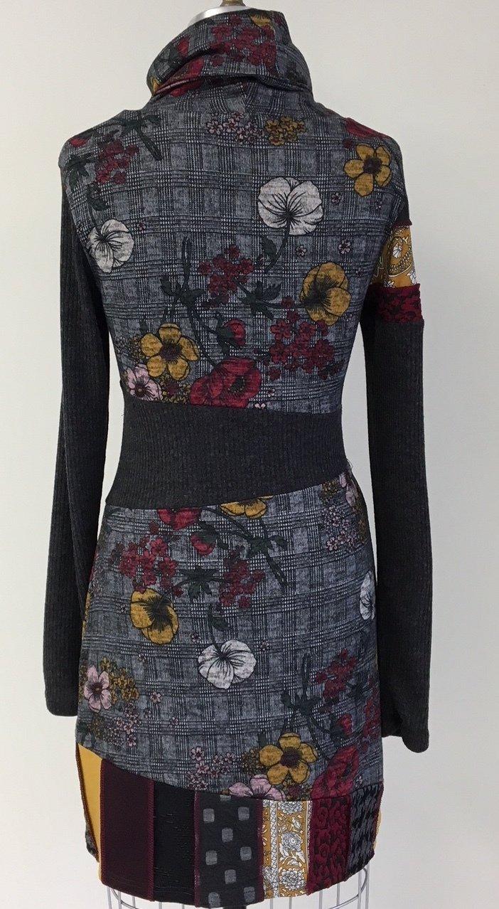 Myco Anna: Eco-Cotton Asymmetrical Patchwork Petunia Plaid Sweater Dress