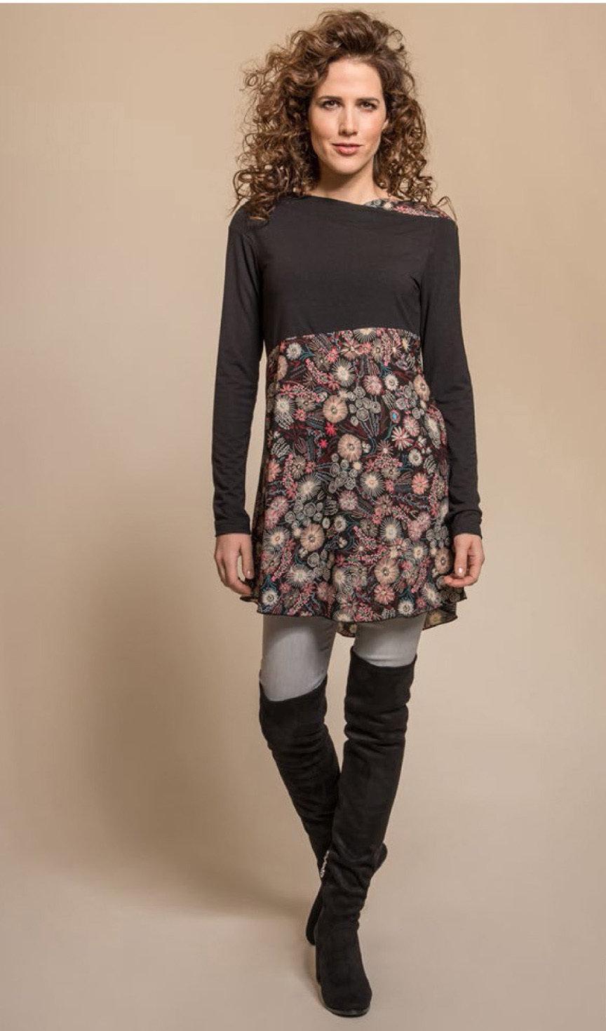 Myco Anna: Asymmetrical Decolletage High Waist Pink Jade Tunic MA_TURNER_C1_N