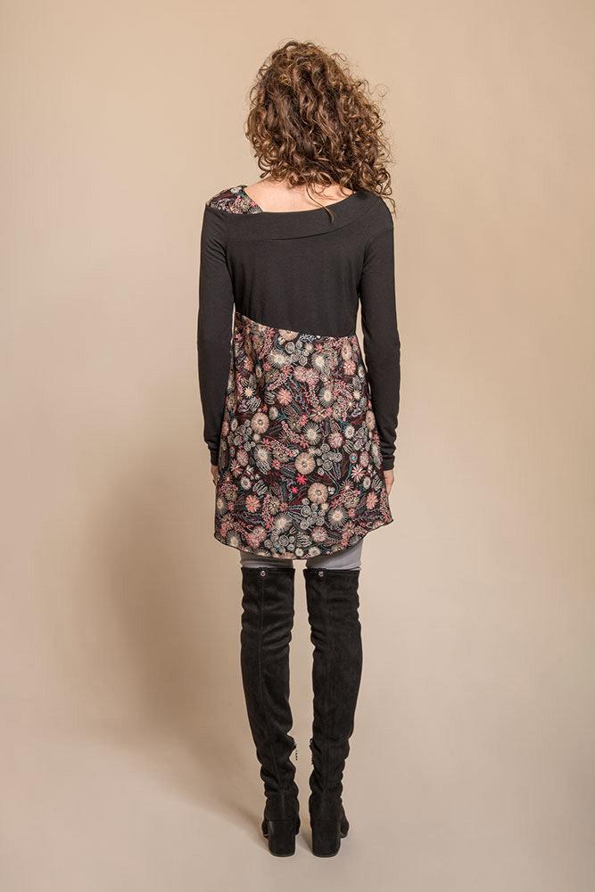 Myco Anna: Asymmetrical Decolletage High Waist Pink Jade Tunic