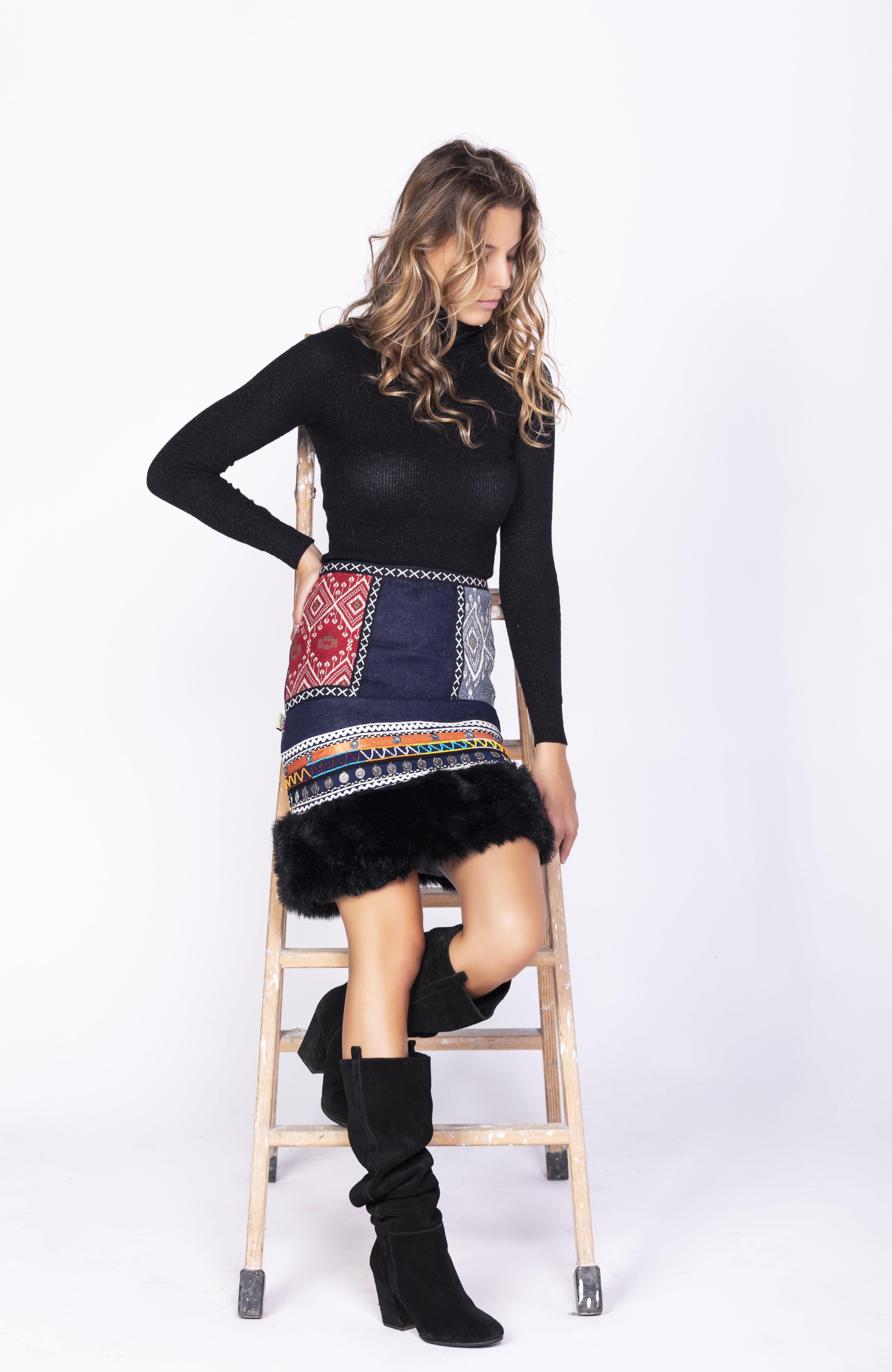 Savage Culture: Embroidered Faux Fur Denim Rhinestone Skirt Chenab SAVAGE_35593