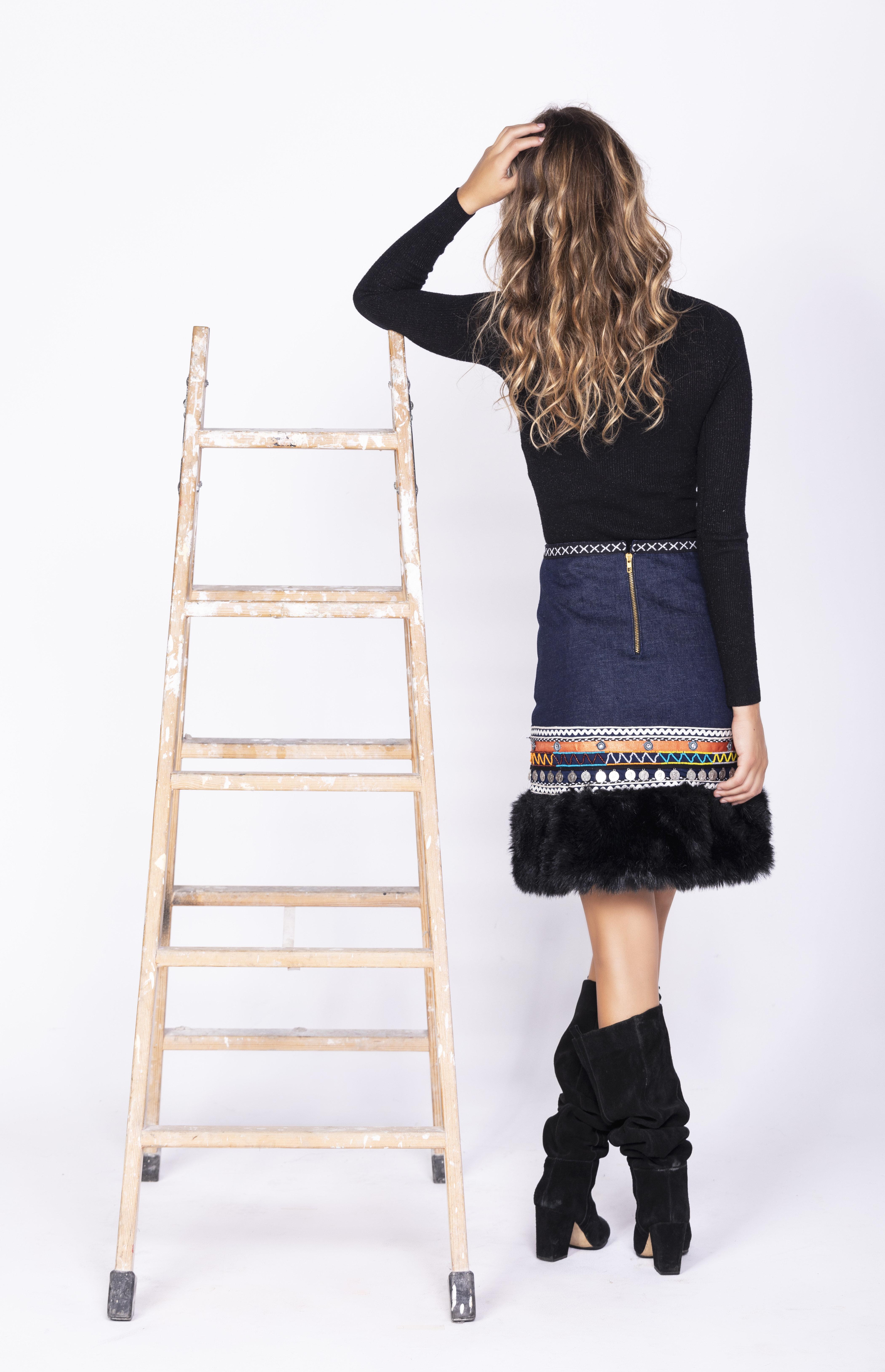 Savage Culture: Embroidered Faux Fur Denim Rhinestone Skirt Chenab