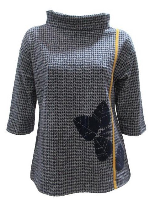 Maloka: Midnight Blue Jacquard Fit & Flare Flower Sweater (Few Left!) MK_PAKI