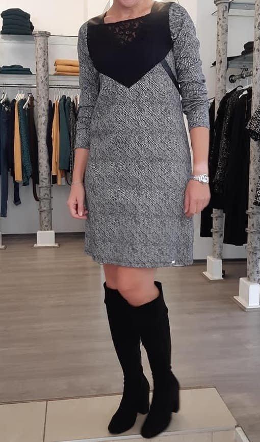 Maloka: Leather & Lace Princess Bodice Jacquard Dress