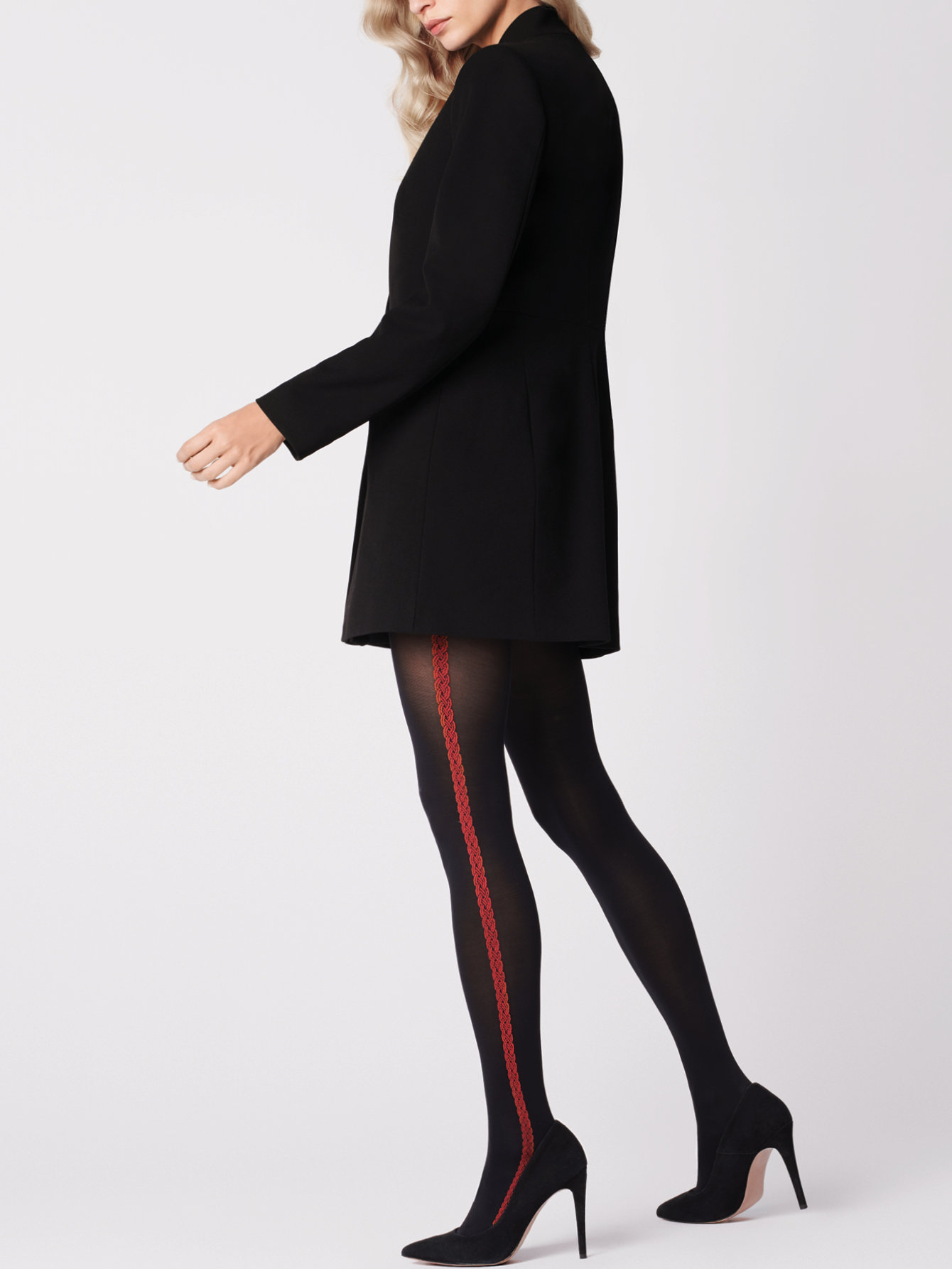 Fiore: Red Lipstick Side Striped Opaque Tights FIO_ROSETTO