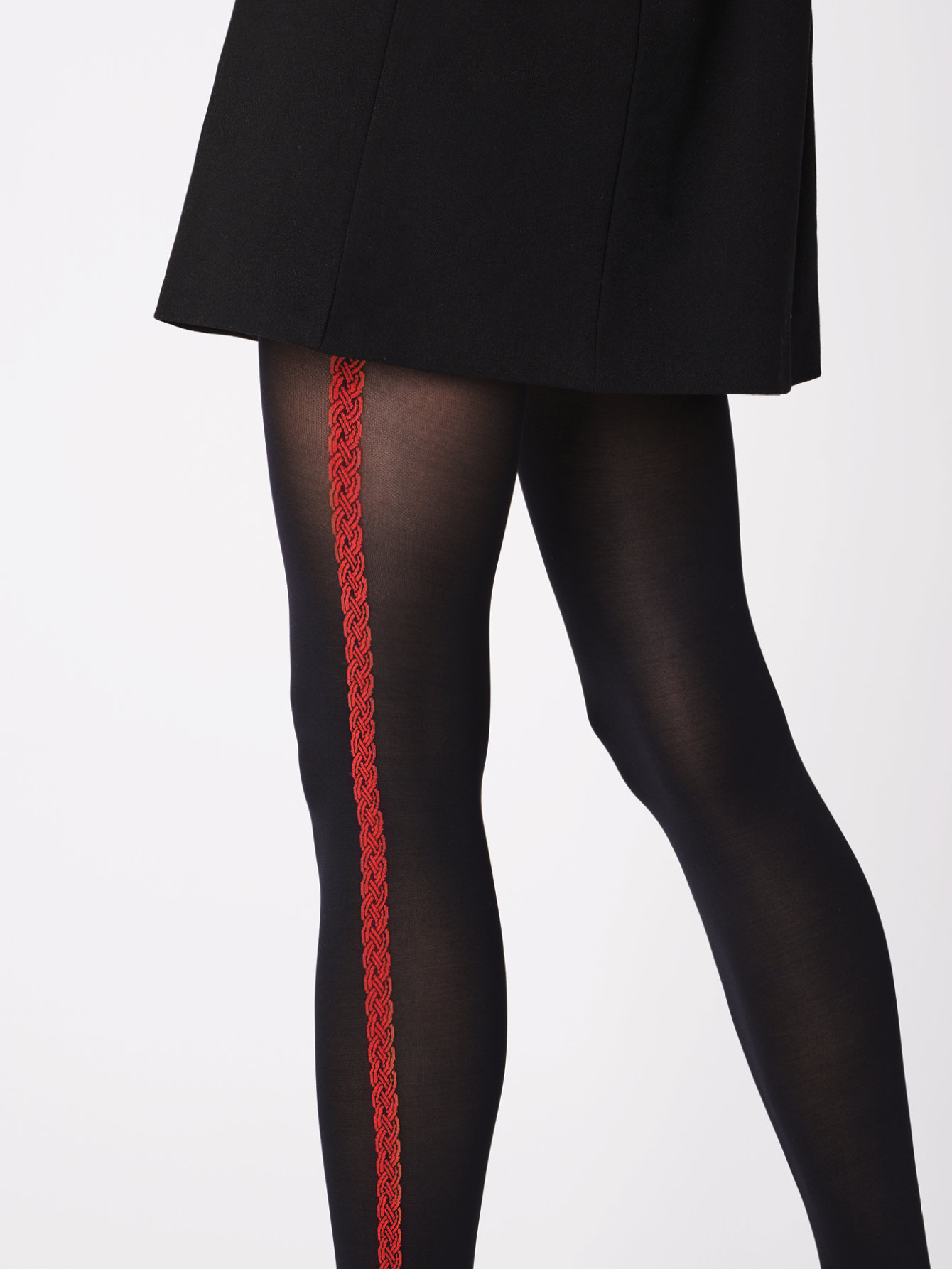 Fiore: Red Lipstick Side Striped Opaque Tights