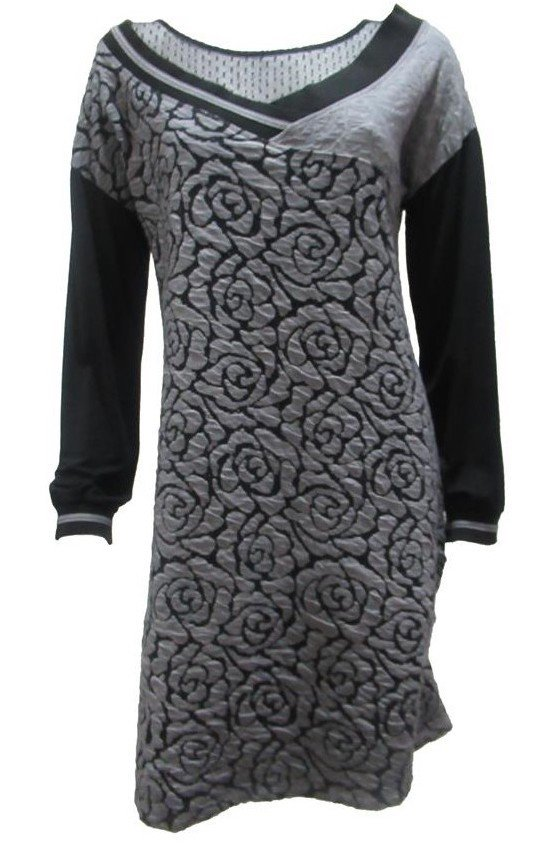 Maloka: Rose Imprinted Swivel Bodice Dress (More Colors!)