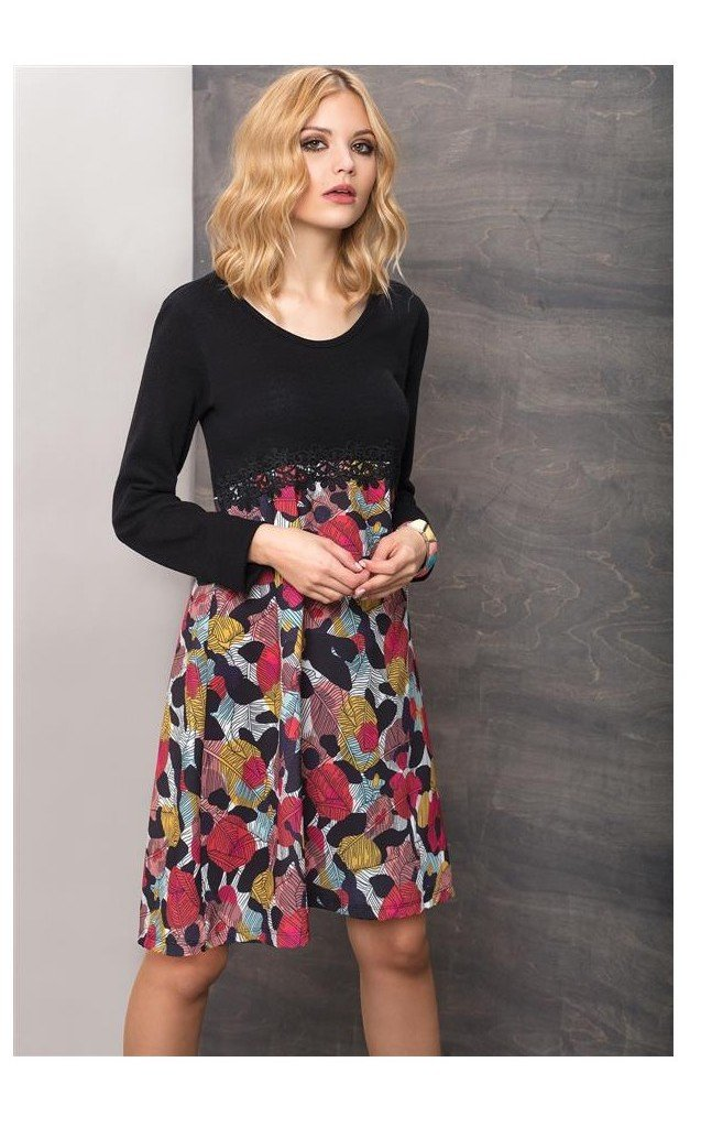 Maloka: Colors Of Autumn Leaves Asymmetrical Jacquard Midi Dress MK_MARIANE