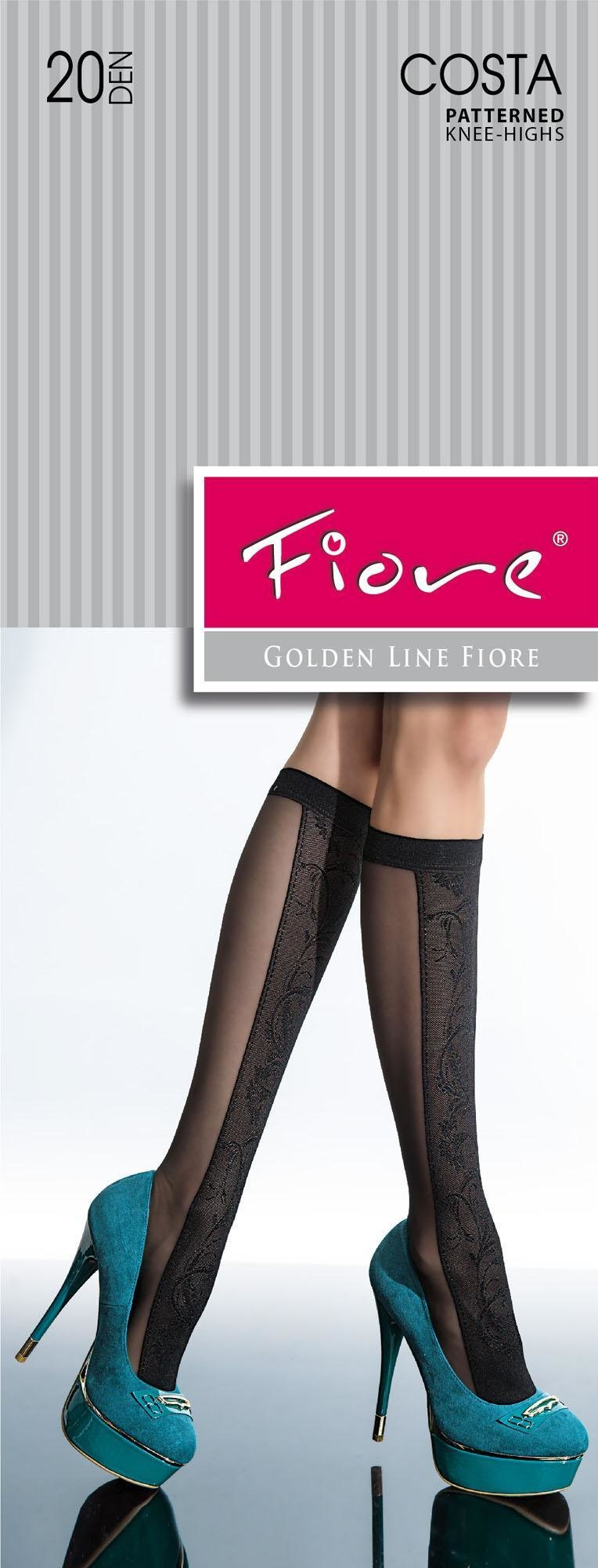Fiore: Color Block Flower Patterned Semi-Opaque Knee Highs