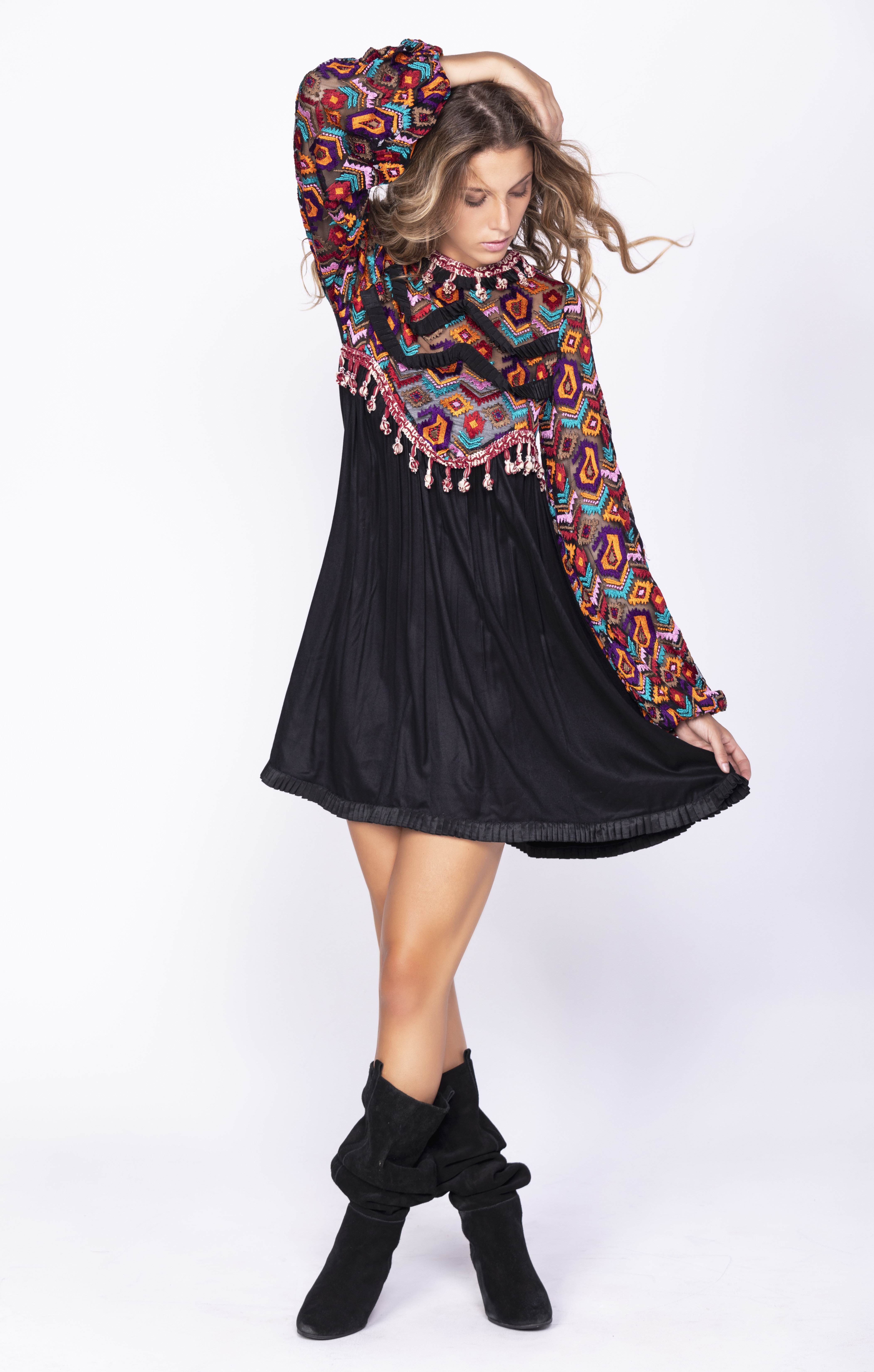 Savage Culture: Magical Frills Empire Waist Little Black Dress Mahanadi SAVAGE_35541