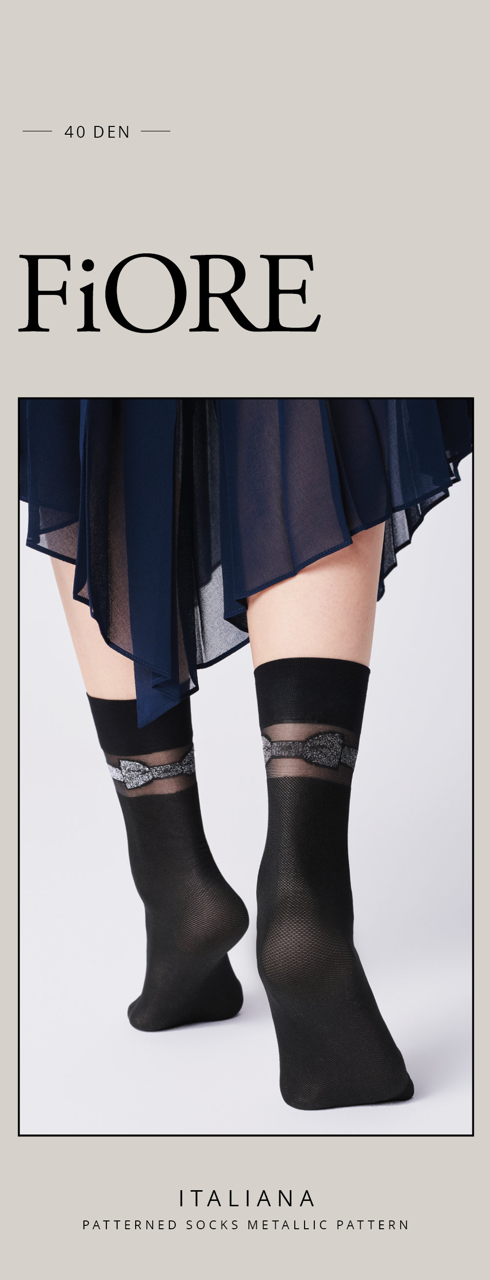 Fiore: Beauty Bow Patterned Socks