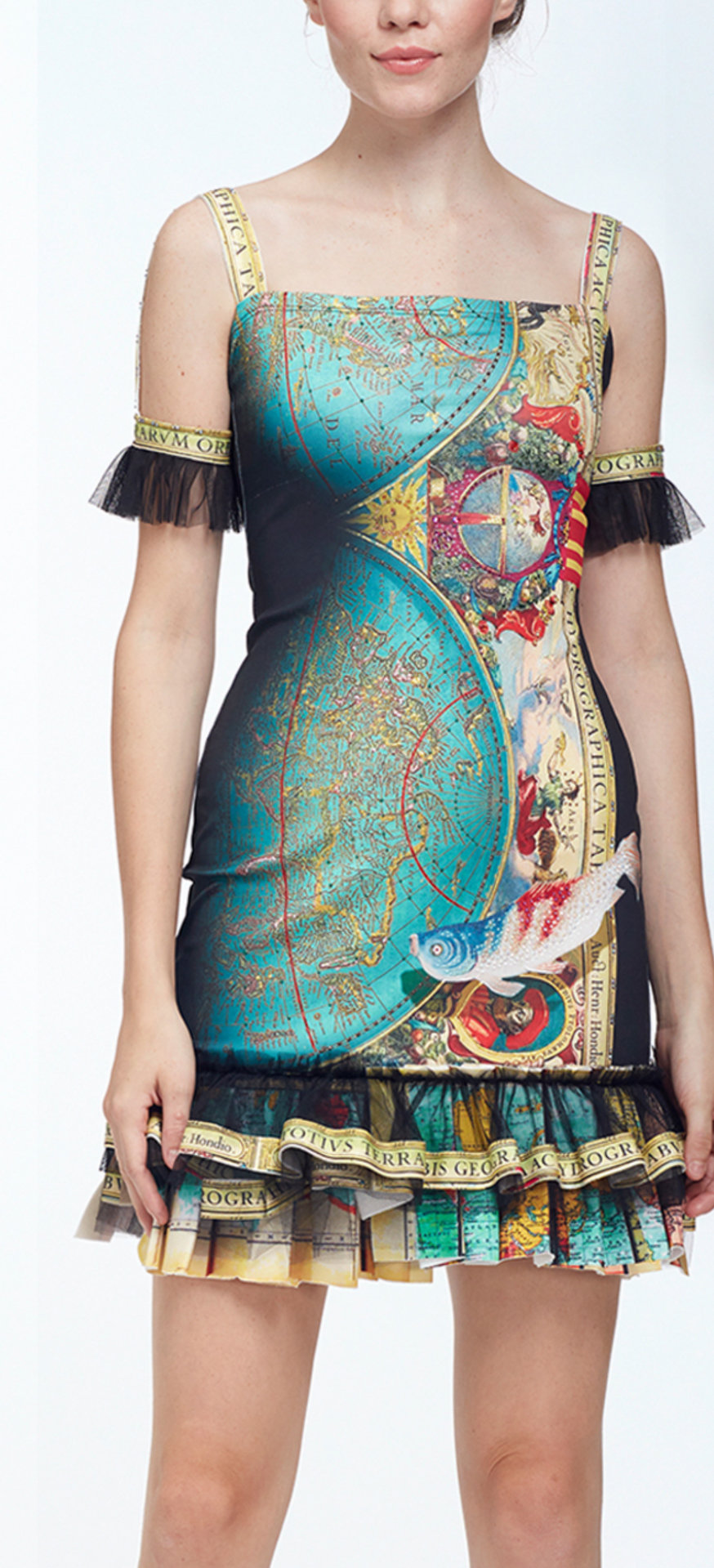 IPNG: The World At Your Paper Boat Trip Ruffled Map Illusion Midi Dress IPNG_PBTDM-005