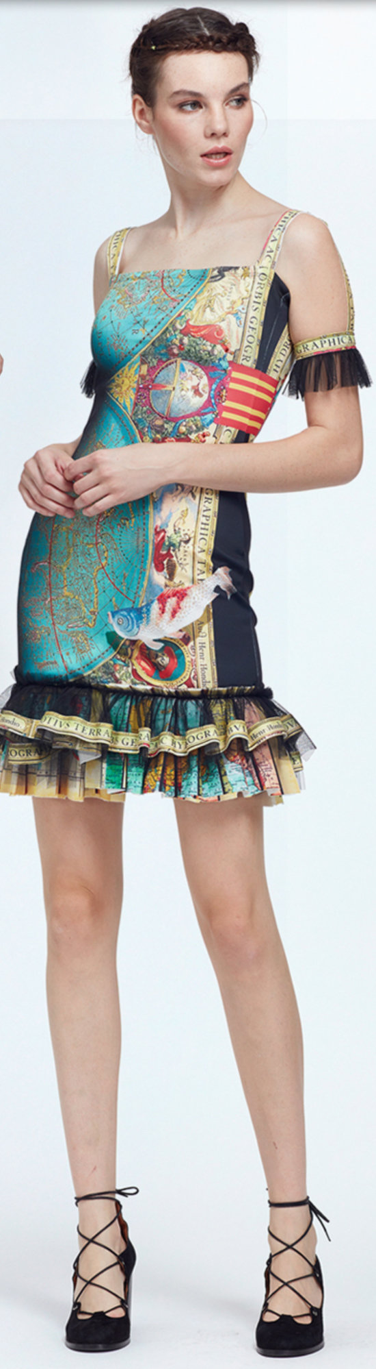 IPNG: The World At Your Paper Boat Trip Ruffled Map Illusion Midi Dress