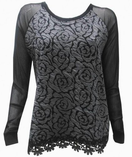 Maloka: Black Rose Imprinted Arabesque Hem Sweater (More Colors, Few Left!) MK_TIRSA