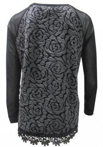 Maloka: Black Rose Imprinted Arabesque Hem Sweater (More Colors, Few Left!)