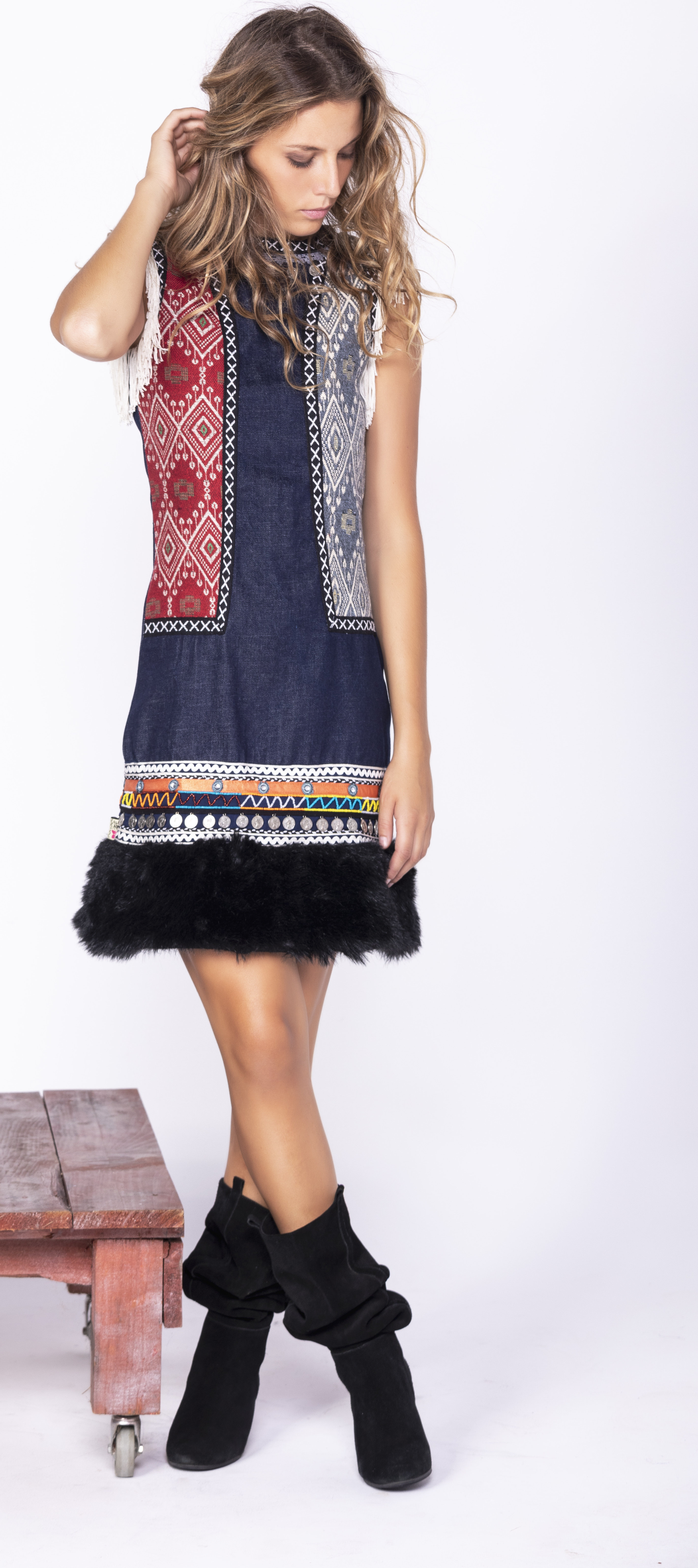 Savage Culture: Embroidered Faux Fur Denim Rhinestone Dress Chenab SAVAGE_35592