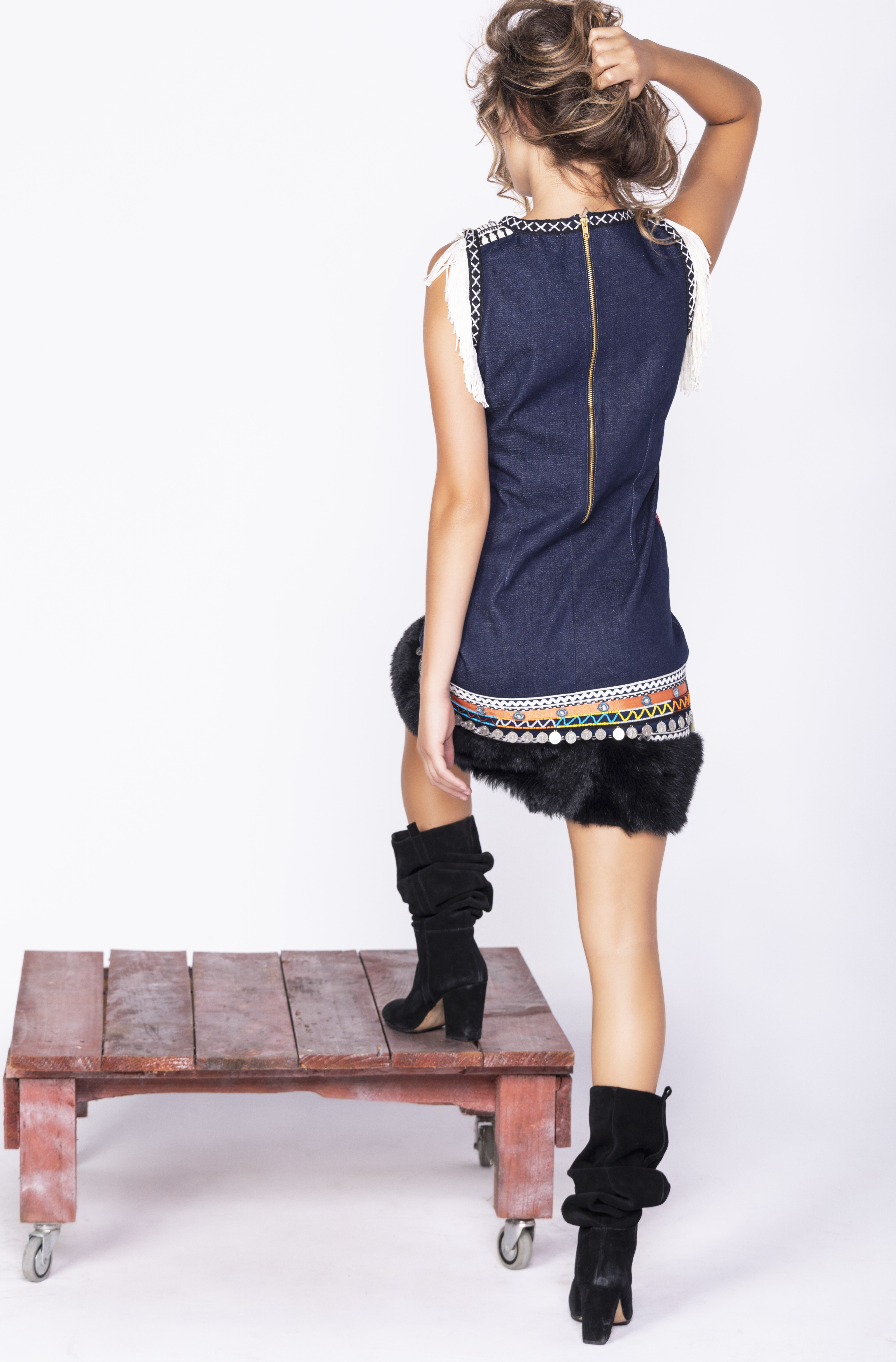 Savage Culture: Embroidered Faux Fur Denim Rhinestone Dress Chenab