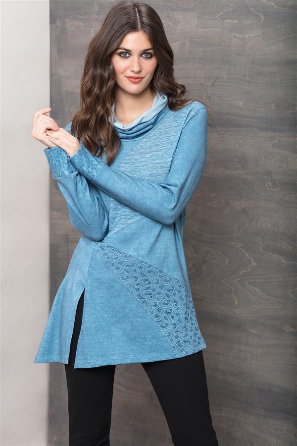 Maloka: Rose Petal Jacquard Asymmetrical Sweater Tunic MK_TELLE