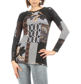S'Quise Paris: Black Rose Asymmetrically Pieced Color Block Tunic SQ_1588_N1