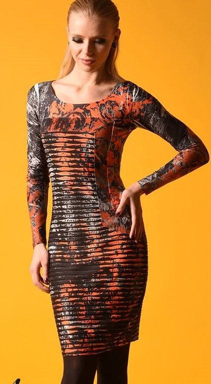 Eroke Italy: Crinkled Rosette Dress EROKE_ABD88_N1