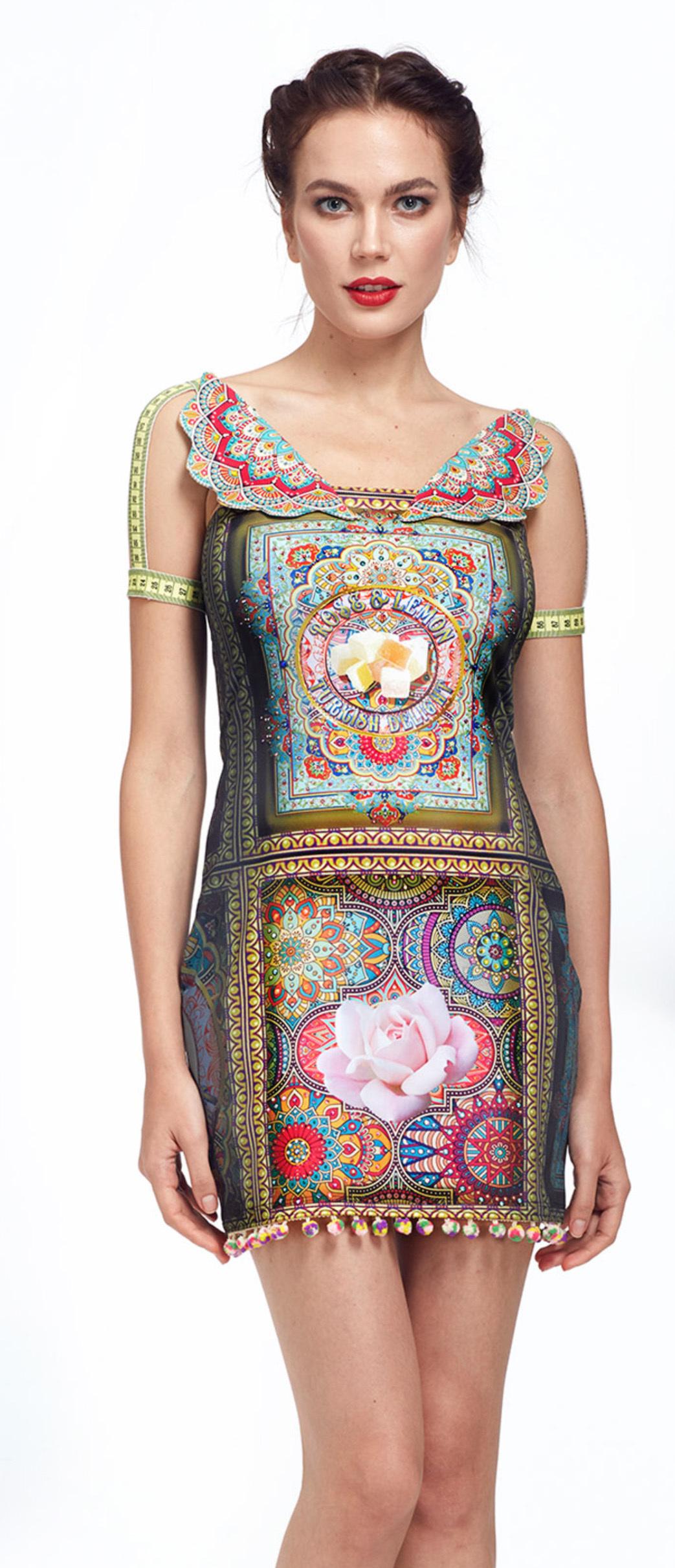 IPNG: Pink Lotus Pom Pom Illusion Mini Dress/Tunic IPNG_LOMDM-039
