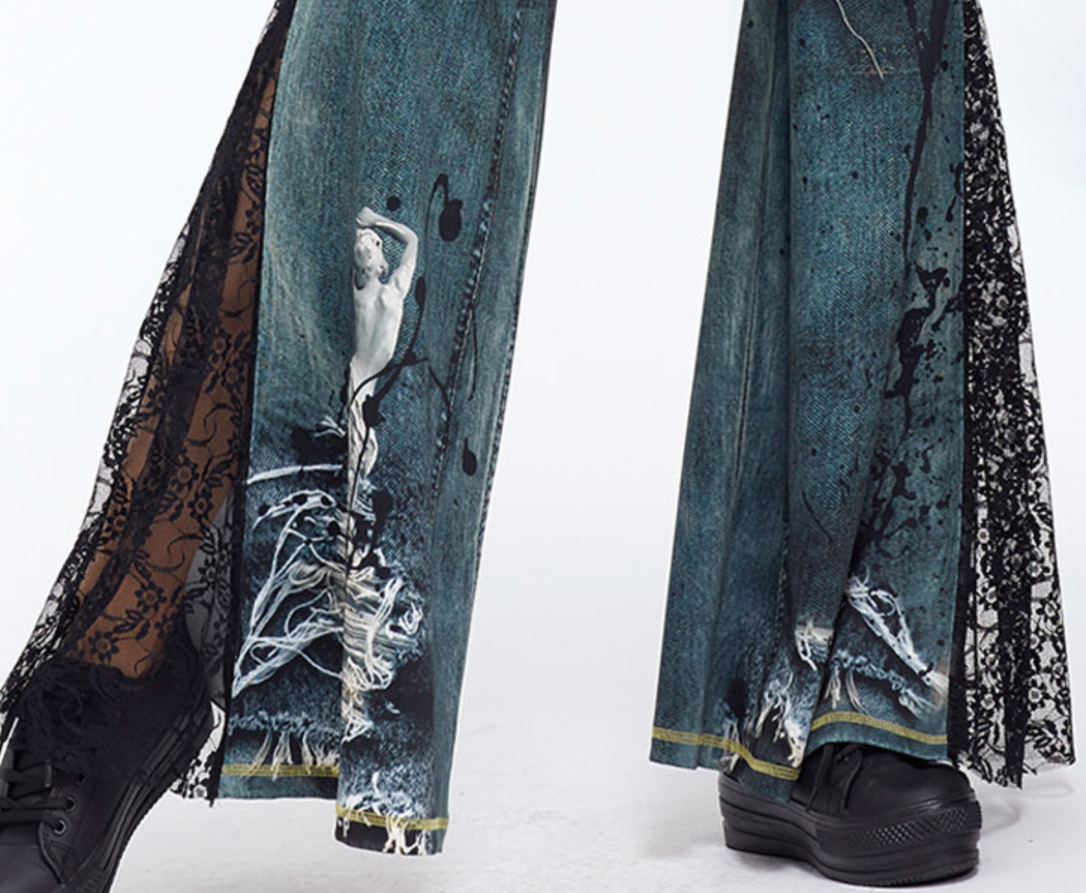 IPNG: Love Me Black Jeweled Denim Illusion Flare Pant (Some Ship Immed!)
