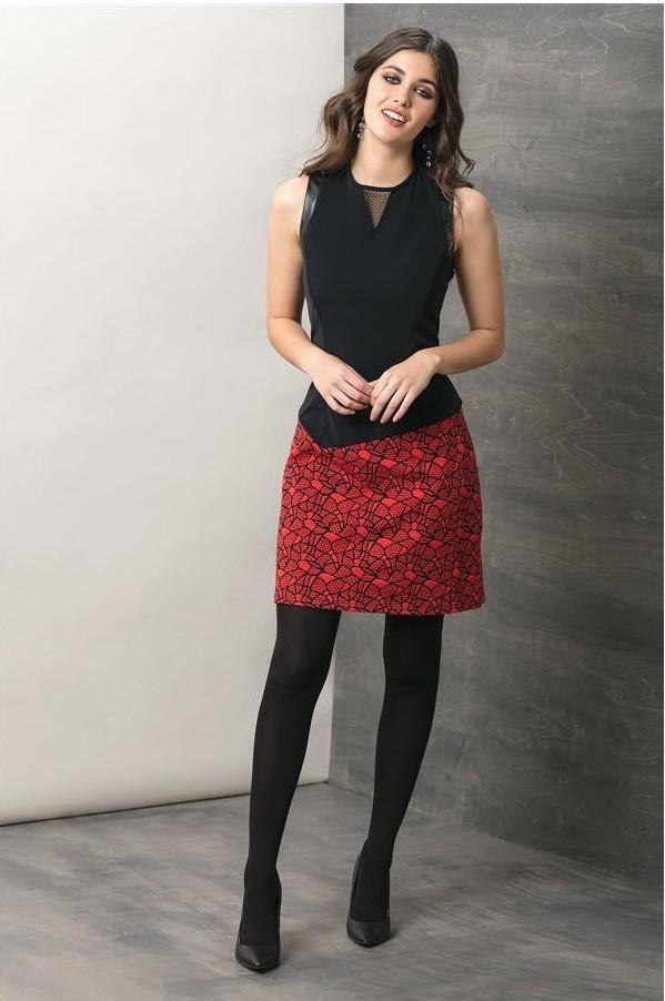 Maloka: Rose Cotton Jacquard Mixed Media Midi Dress MK_FILENA