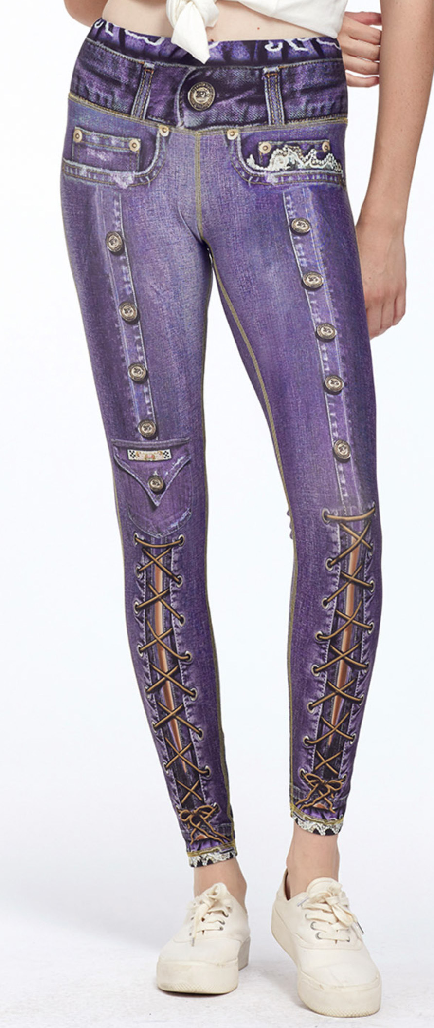 IPNG: Love Me Criss Cross Denim Illusion Legging (Many Colors!) IPNG_BSCL-012_006_007_008_009_010_011