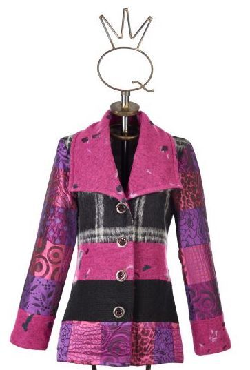 Save The Queen: Forever Fuschia Wool Short Coat STQ_PINK_WOOL