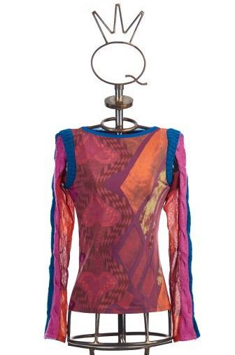 Save The Queen: Heart My Bodice Abstract Art Mixed Media Sweater Tunic STQ_HEARTS