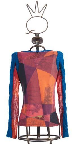 Save The Queen: Heart My Bodice Abstract Art Mixed Media Sweater Tunic