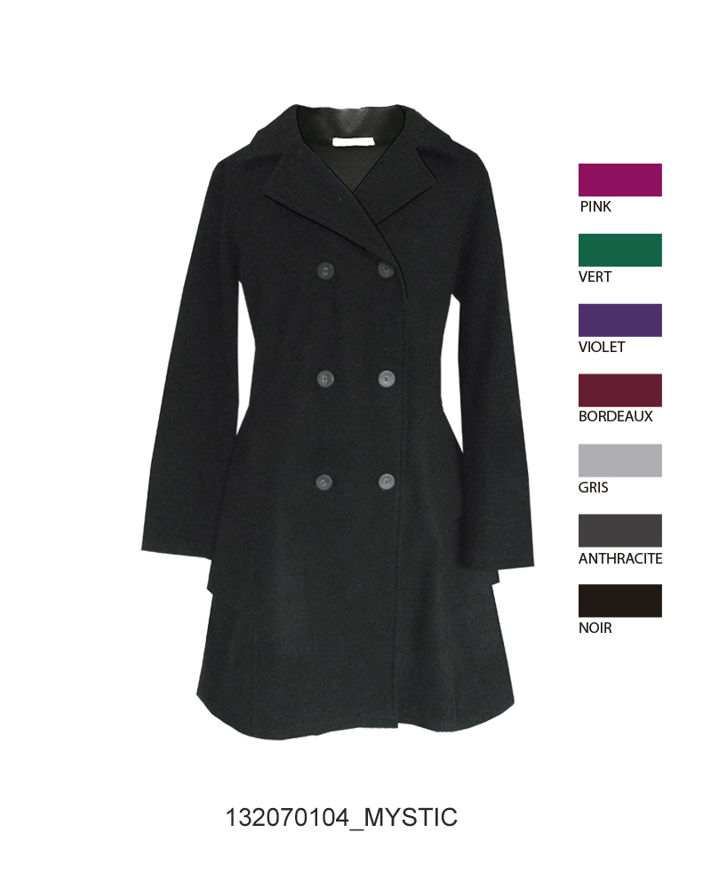 Maloka: Ruffles & Wool Flared Pea Coat (Few Left in Black)