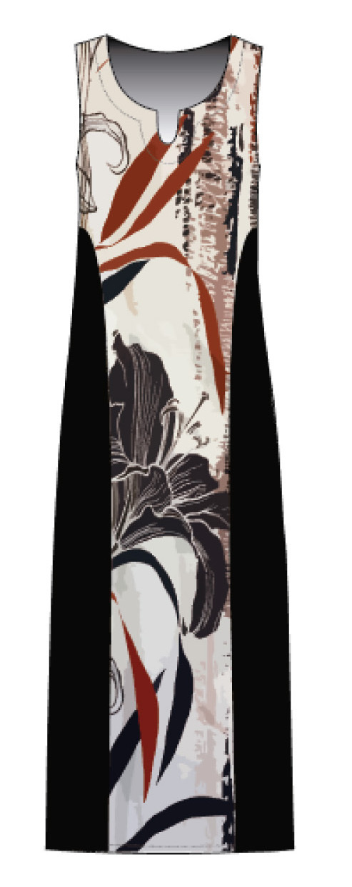 Maloka: Black Lily Sketch Art Colorblock Maxi Dress