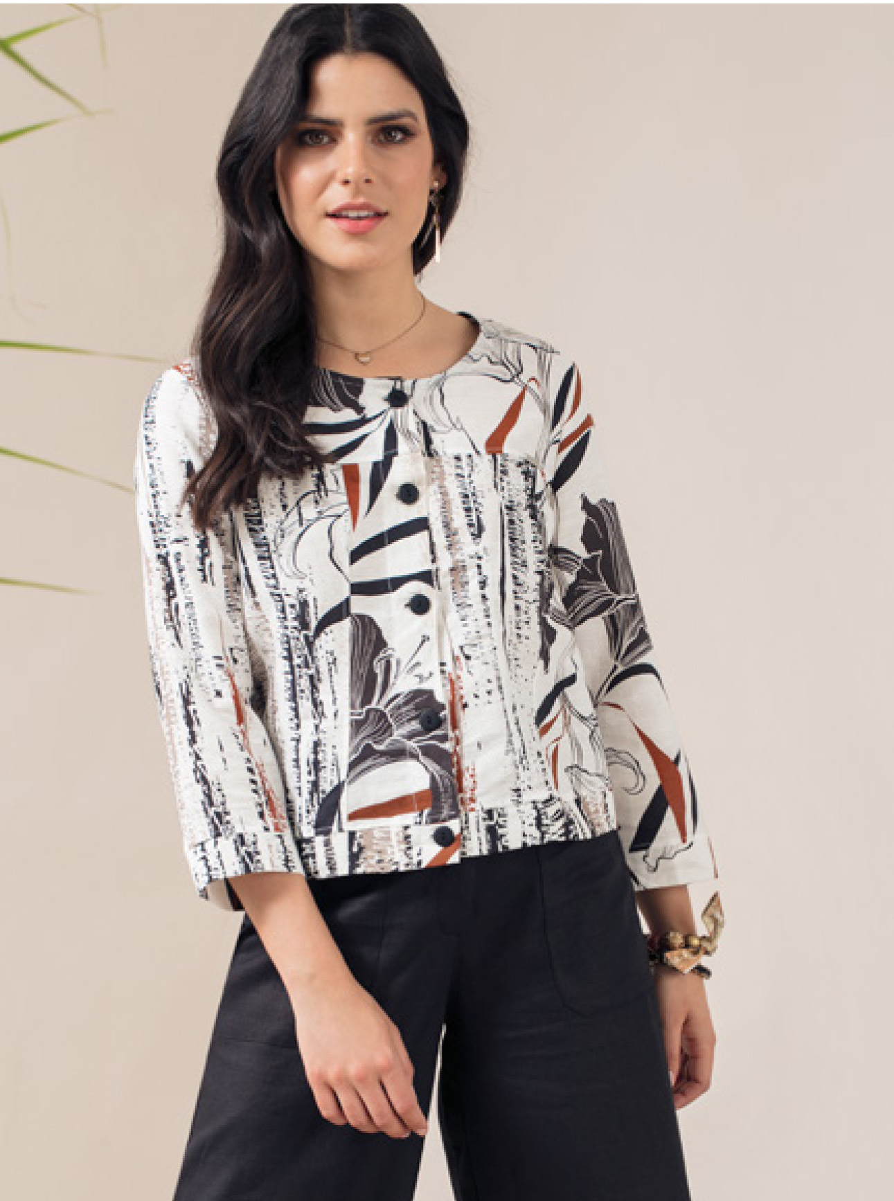 Maloka: Black Lily Sketch Art Soft Linen Jacket SOLD OUT MK_YUNET