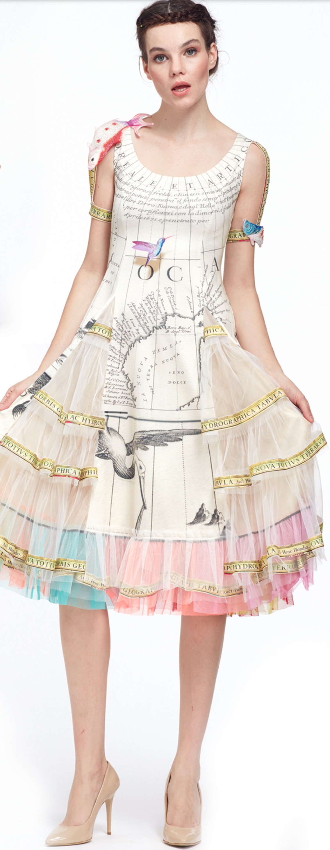 IPNG: The World At Your Paper Boat Trip Map Illusion Tulle A-line Gown IPNG_PBTD-002